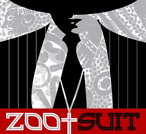 "Red and black image from ""Zoot Suit"" poster"