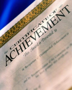 """A certificate of achievement"""