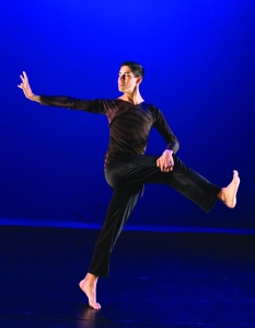 """Santa Ana College dance student Gabriel Mata in dance pose"""